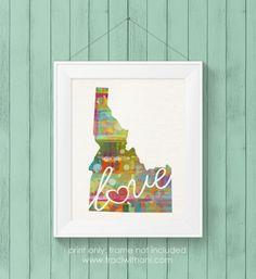 Idaho (ID) Love Canvas Paper Watercolor Home Decor / State Silhouette Wall Art Print