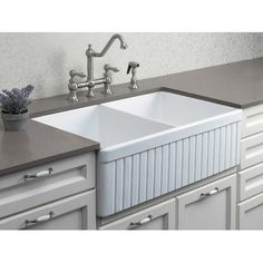 Alfi 32 Fluted Double Bowl Fireclay Farmhouse Kitchen Sink   Kitchen Sinks    New York   By ExpressDecor