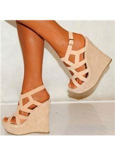 Comfortable Beige Cut-Outs Wedge Heel Sandals