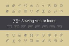 75+ Sewing Vector Icons by Creative Stall on @creativemarket