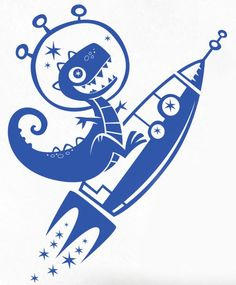 Kids Wall Decals - Space Dinosaur on a Rocket - Vinyl Decal Nursery Wall Art - Personlized Color Choice. $39.95, via Etsy.