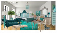 http://cherylhucks.com   Turquoise bedroom with silver accents, turquoise sofa, desk