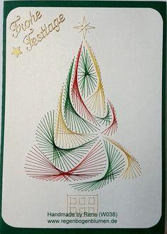 Fadengrafik Grußkarte W002 Weihnachten  Fadengrafik - GrußKarten - Set mit dem abgebildeten Fadengrafik-Motiv  bestehend aus: 1 Doppelkarte / Klappkarte im Format 10,5 x 14,8 cm 1 passender...