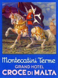 Montecatini Terme - Grand Hotel Croce di Malta (Luggage Label) by Artist Unknown