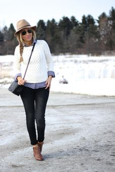 White sweater with chambray