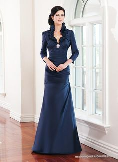 Silk A-line Ruffled Halter Collar Neckline Mother of The Bride Dress with Sleeves