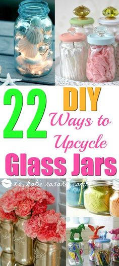 22 diy mason diy jar projects to upcycle and reuse glass jars Cleaning out your home can result in many odds and ends. Some are trash and others can be reused for new projects. See how to upcycle glass mason jars here! Crafts With Glass Jars, Mason Jar Crafts, Mason Jar Diy, Diy Jars, Glass Jar Decorations, Mason Jar Projects, Diy Projects, Reuse Jars, Reuse Bottles