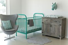 Declan (green) crib from Incy Interiors offers a colour pop in a nursery for a girl or a boy Expertly crafted from strong iron, with simple timeless curves and round spindles, Romy, Clancy and Declan feature stationary rails and two adjustable mattress heights – to allow your cot to grow with your baby.