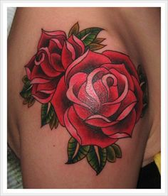 tattoo old school / traditional roses - bright, bold, and very well done!