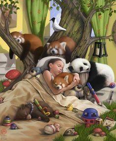 This is my dream! Look at those red tree pandas. Caleb Et Sophia, Jw Meme, Psalm 133, Isaiah 14, Jw Humor, Cute Bear, Image Digital, Digital Art, Jehovah's Witnesses