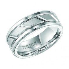 Triton, White Tungsten Carbide 8mm Comfort Fit Wedding Band