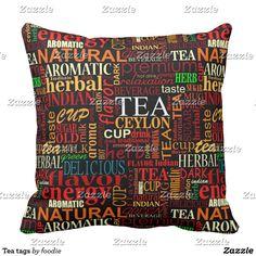 Tea tags throw pillow