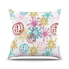 KESS InHouse AS1024AOP03 18 x 18-Inch 'Anneline Sophia Let It Snow' Outdoor Throw Cushion - Multi-Colour -- Want to know more, click on the image. (This is an affiliate link) #GardenFurnitureandAccessories