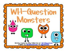This is a monster-themed card set with 24 cards to target WH-Questions (where, what, when questions). The set also includes a cover sheet and instructions.You can use the question cards like flash cards to work on answering WH-Questions, forming complete sentences/questions, using describing words to talk about the monster pictures, etc.This is a great resource for speech-language pathologists, preschool and early elementary teachers, and parents.Copyright 2013 Schoolhouse Talk.