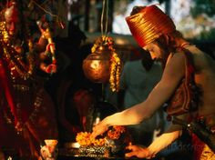 Sadhu Making Puja at Maha Devi Shrine Brings Offerings During Kumbh Mela, Haridwar, India Photographic Print by Paul Beinssen at AllPosters.com