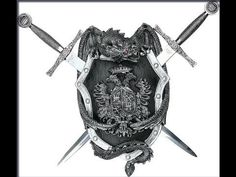 Medieval Dragon Shield Crest Wall Mount With Two Sword / Daggers Medieval Dragon, Medieval Armor, Armor Clothing, Medieval Clothing, Dual Swords, Castle Rooms, Knight Shield, Medieval Shields, Dragon Shield