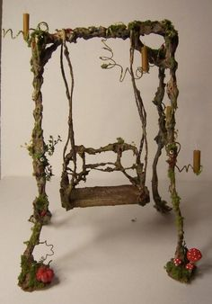 scale - Magic Fairy-Swing OOAK by Karin Caspar - fairy garden swing Mini Fairy Garden, Fairy Garden Houses, Fairy Gardening, Diy Jardim, Create A Fairy, Fairy Village, Fairy Garden Furniture, Fairy Crafts, Little Gardens