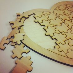Wooden Love Heart Guest Book Puzzle