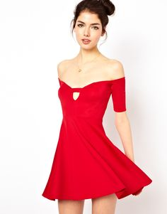We love this Red Asos Skater Dress Holiday or Valentine's
