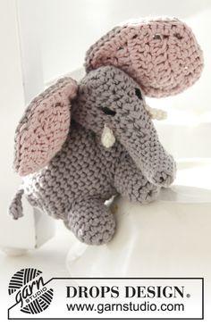 """Free pattern! Crochet DROPS elephant in """"Safran"""""""