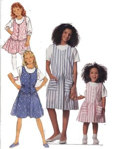 Butterick Sewing Pattern 6480 Girls Jumper & Top   Sizes 4,5,6   Used