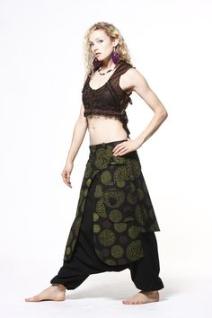 Low crotch Afghan Trousers £34.99 by GEKKO BOHOTIQUE  Goa Trance,Steampunk,Psytrance,Hippie,Boho,Tribal festival clothing. Pocket belts, hats and wrists Warmers.Come visit our shops in Camden and Greenwich Markets