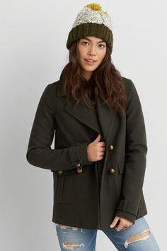 AEO Military Wool Peacoat, Women's, Size: XXL, Olive Green