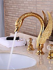 Pieces+Widespread+Basin+Waterfall+Faucet+Tap+Gold+Finish+–+USD+$+365.84
