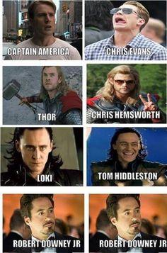 Avengers IRL: Chris Evans, Chris Hemsworth, Tom Hiddleston and Robert Downey Junior Avengers Humor, Marvel Avengers, Funny Marvel Memes, Dc Memes, Marvel Jokes, Marvel Actors, Marvel Dc Comics, Avengers Characters, Loki Meme