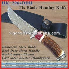 #custom handmade damascus steel hunting knife, #damascus knife with antler handle, #handmade damascus steel hunting knife