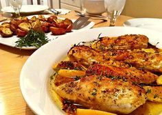 Baked Herb Lemon Chicken, This is one of the best meals I cook! Great Recipes, Dinner Recipes, Favorite Recipes, Hcg Recipes, Healthy Recipes, Recipies, Baked Chicken, Chicken Recipes, Roast Chicken