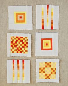 Miniature Patchwork Pincushions by Molly from The Purl Bee Small Quilts, Easy Quilts, Mini Quilts, Purl Bee, Beginner Quilt Patterns, Miniature Quilts, Craft Patterns, Pin Cushions, Quilting Projects