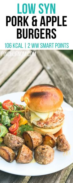 Pork and Apple Burgers Pinch Of Nom Low Syn Pork and Apple Burgers Pinch Of Nom Slimming World Recipes 106 kcal 05 Syn 2 Weight Pork And Apple Burgers, Pork Burgers, Low Carb Recipes, Cooking Recipes, Healthy Recipes, Free Recipes, Simple Recipes, Ww Recipes, Healthy Dinners
