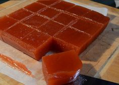 Quince (membrillo) is sold at our local farmer's market. You can make this easy sweet/savory appetizer in the crockpot; even stopping after the crockpot step and serving it in a bowl with a crumbled hard cheese. A delicious Spanish delicacy! Quince Fruit, Quince Jelly, Quince Paste Recipe, Fruit Recipes, Dessert Recipes, Recipies, Slow Cooker Recipes, Recipes, Yummy Recipes