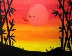 Gallery For gt Easy Sunset Paintings