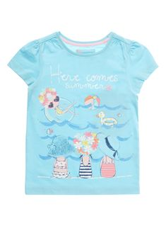 Ensure they are ready for the summer with this t-shirt. In a vibrant blue with a playful beach print and 'here comes the summer' slogan, pair with shorts and sandals for a lighthearted look. Girls blue t-shirt Short sleeves Round neck Printed beach design at front Keep away from fire