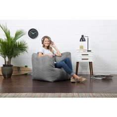 Lux by Big Joe Cube Chair Gray Union