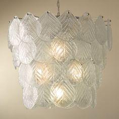 Murano chandelier with frosted glass leaves / Araña de cristal de Murano con hojas de vidrio esmerilado