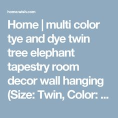 Home | multi color tye and dye twin tree elephant tapestry room decor wall hanging (Size: Twin, Color: Multicolor)