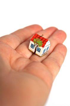 Too Cute! House Pendant - Miniature Wood Cottage. via Etsy.