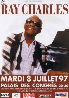 Poster for the Ray Charles concert at the Palais des Congrès in Paris on July 8, 1997.