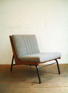 Bent Steel, Wood, and Fabric Chair | Mid Century Modern
