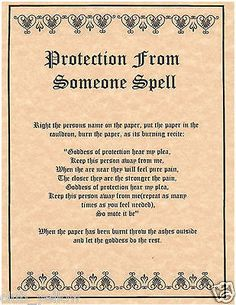 PROTECTION FROM SOMEONE Book of Shadows Page BOS Pages Real Witchcraft Spell