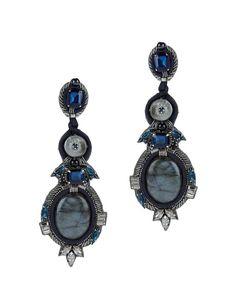 Ranjana Khan Labradorite Drop Earrings: Intricate blue labradorite stones lend an ornate expression on these earrings. Clip on. 6 ...