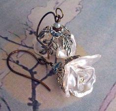 House of York Earrings - White Rose - Artisan Handcrafted - Yarrows Garden