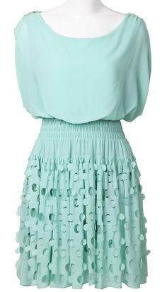 Green Short Sleeve Bandeau Hollow Polka Dot Dress...love the skirt part & color of this!
