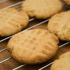 Classic Peanut Butter Cookies Allrecipes.com - Amazing! Did half a batch and it made about 18 cookies. 8 minutes was perfect. Might roll in sugar before cooking next time.