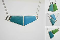 Angelina Jane- Magnetic sterling silver and resin necklace, customisable with up to 36 different colour/shape combinations in turquoise, sea blue & green Resin Necklace, Resin Jewelry, Unique Jewelry, Unique Colors, Different Colors, Color Shapes, Colour, Personalized Necklace, Contemporary Jewellery