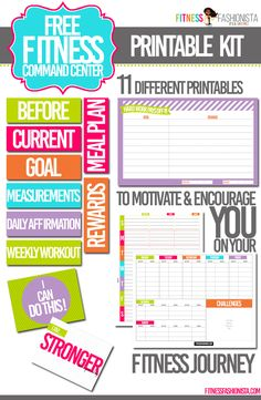 Looking to lose weight or start a fitness journey?  Creating a command center to house all of your goals, workouts and meals can be a real motivator.  This printable fitness command center kit will help you create one.