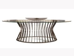 Visionnaire IPE Cavalli Solstice Luxury Italian Designer Dining Table with an Elliptic Glass Top and Cage Structure on Elliptic Base in Laser Cut Stainless Steel